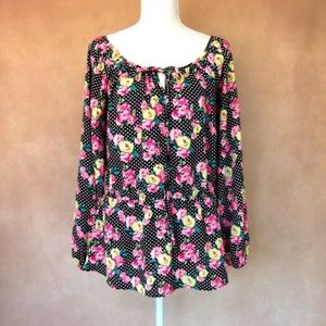 Betsey Johnson Adorable Floral Peplum Top Small
